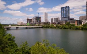 Urban development continues along the river in Downtown Austin, Texas